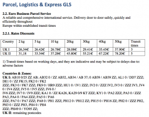 Shipping costs GLS